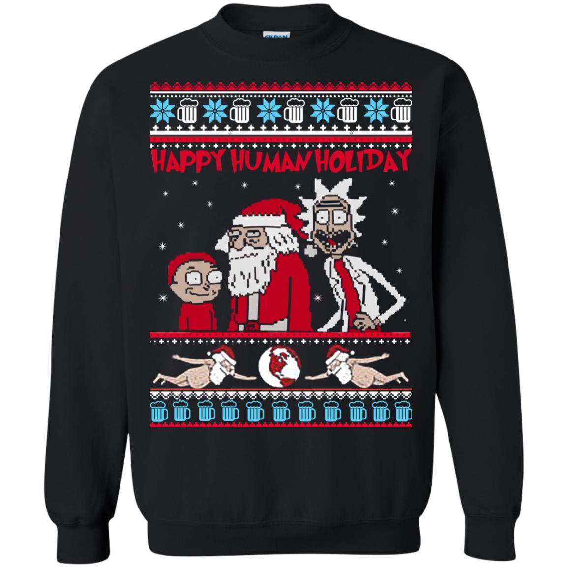 Rick And Morty Happy Human Holiday Ugly Sweater Shirt Rockatee