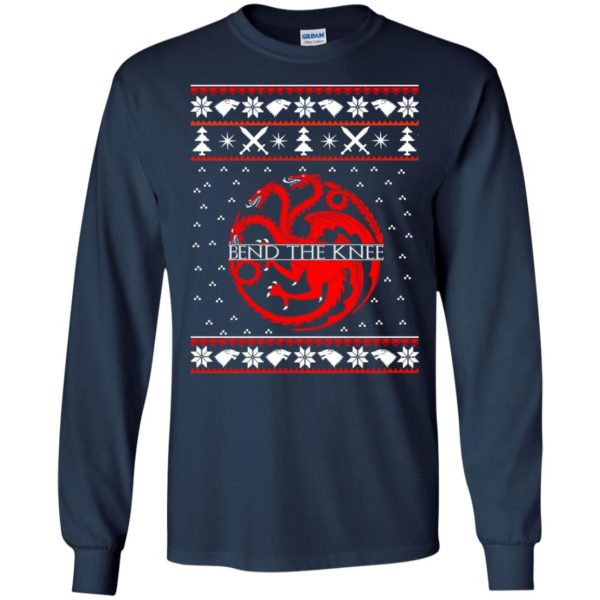 image 865 600x600 - Game of Thrones Bend the knee Christmas sweater, long sleeve