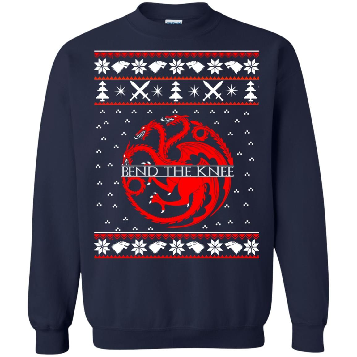 image 869 - Game of Thrones Bend the knee Christmas sweater, long sleeve
