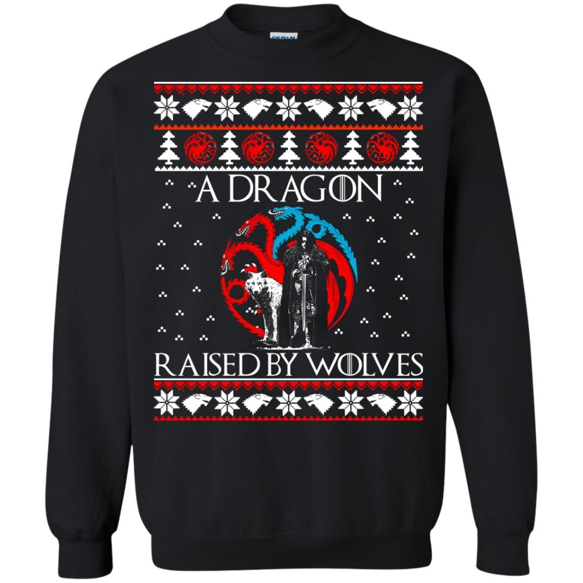 image 880 - A Dragon raised by Wolves Christmas sweatshirt, hoodie