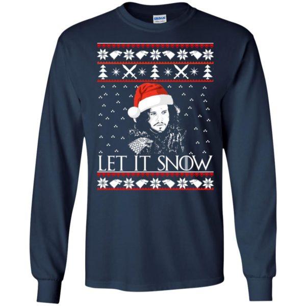 image 937 600x600 - Game of Thrones: Jon Snow let it Snow Christmas sweater, long sleeve