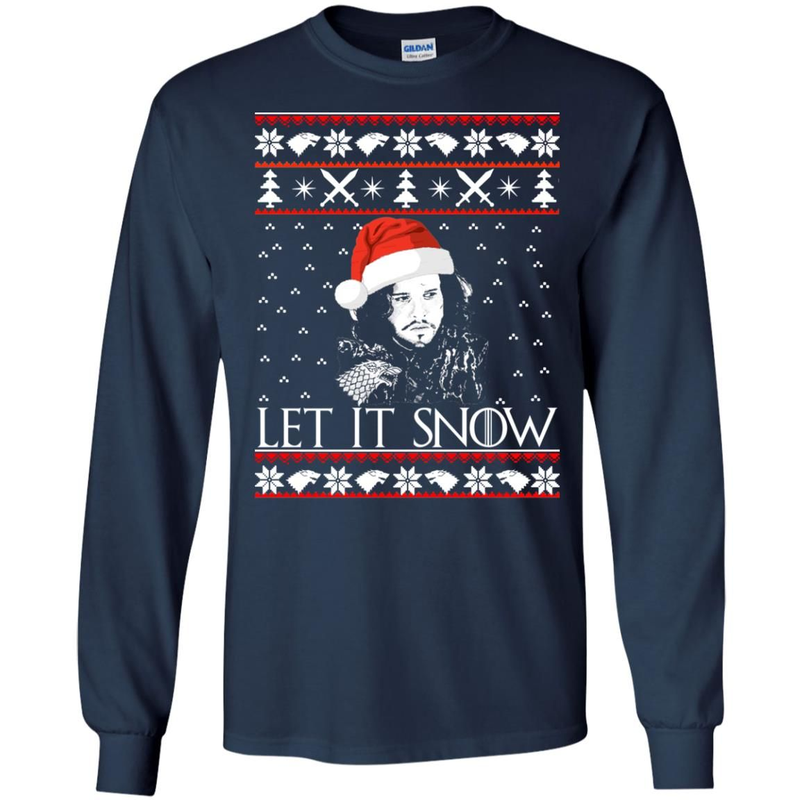 image 937 - Game of Thrones: Jon Snow let it Snow Christmas sweater, long sleeve