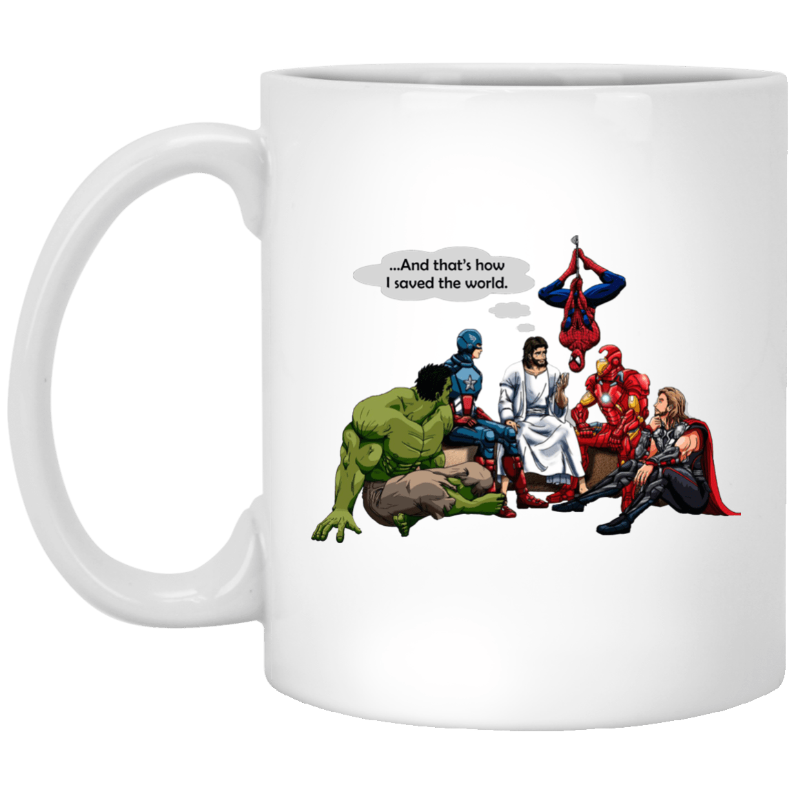 image - Jesus and Superheroes mug