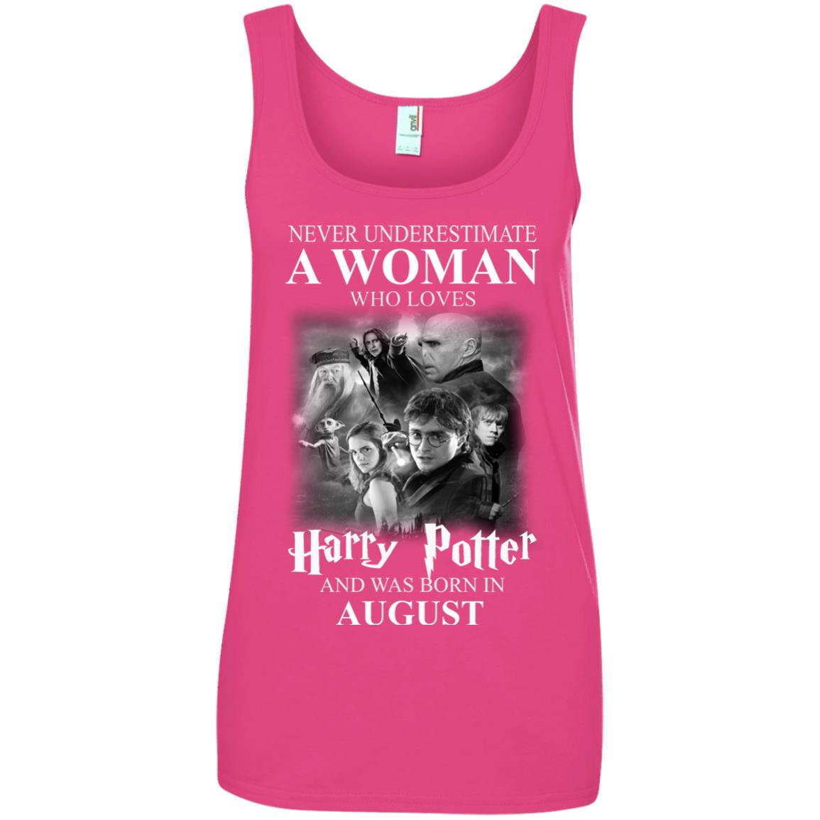 image 1083 - Never underestimate A woman who watches Harry Potter and was born in August shirt