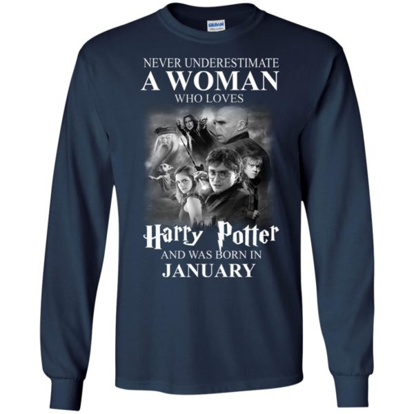 image 1161 600x600 - Never underestimate A woman who watches Harry Potter and was born in January shirt
