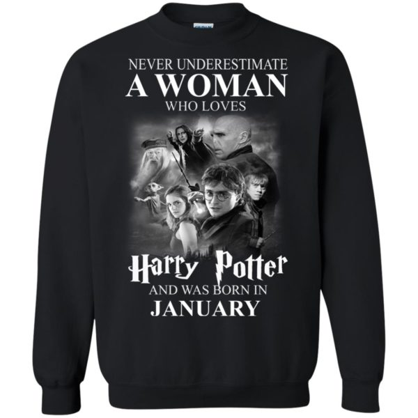 image 1164 600x600 - Never underestimate A woman who watches Harry Potter and was born in January shirt