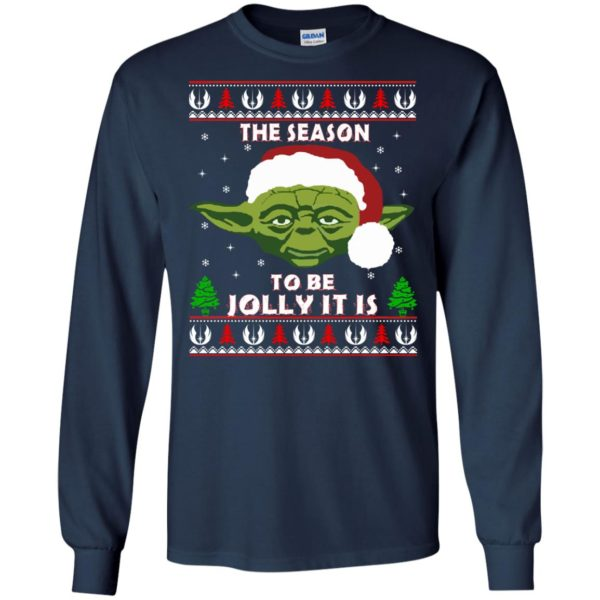 image 1701 600x600 - Star Wars Yoda: Tis the season to be jolly it is Christmas sweater, hoodie
