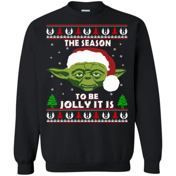 image 1704 600x600 - Star Wars Yoda: Tis the season to be jolly it is Christmas sweater, hoodie