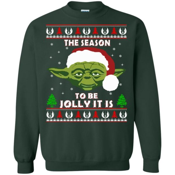 image 1707 600x600 - Star Wars Yoda: Tis the season to be jolly it is Christmas sweater, hoodie