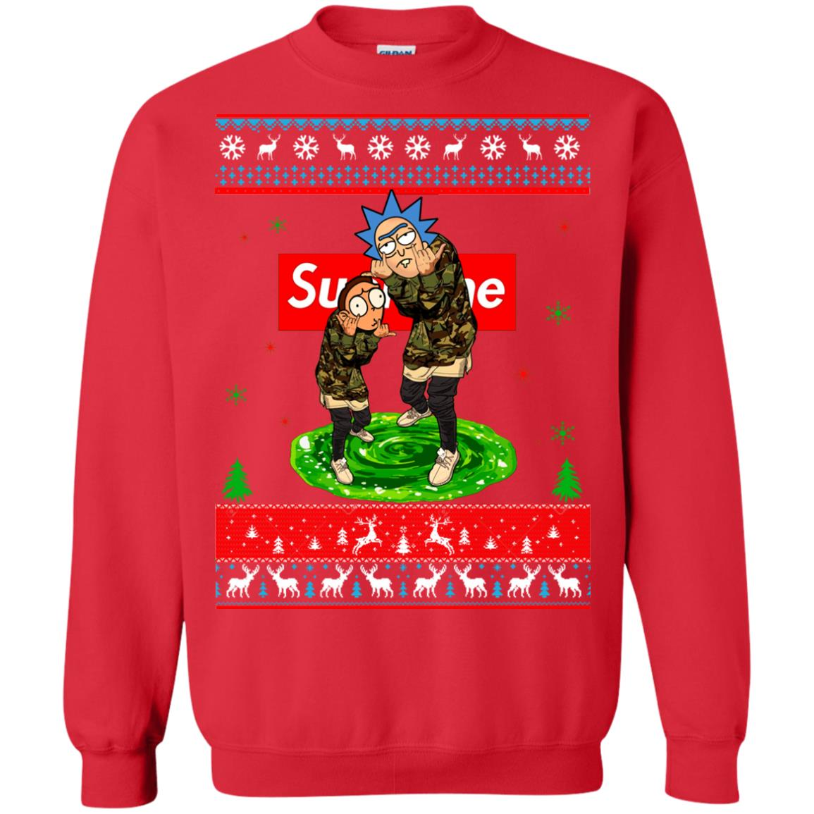 Rick and Morty Supreme Ugly Christmas Sweater, Hoodie - Rockatee