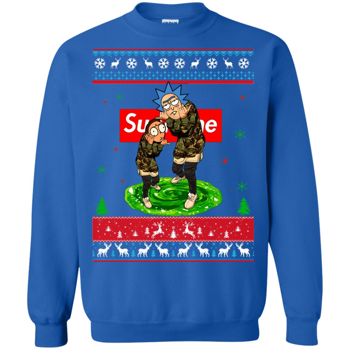Rick and Morty Supreme Ugly Christmas Sweater, Hoodie - Rockatee