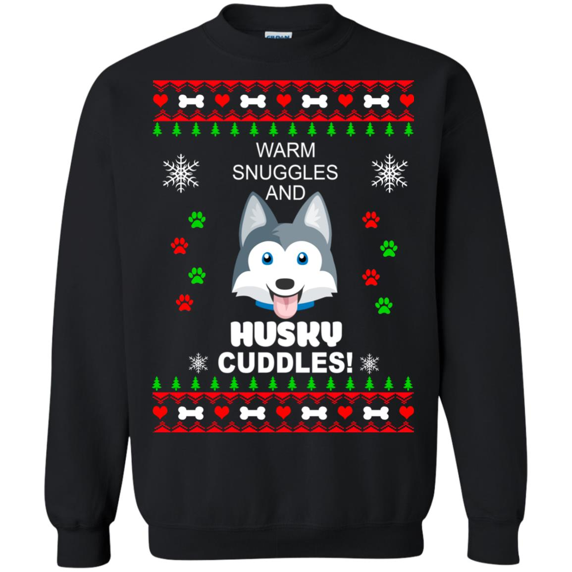 image 1945 - Warm snuggles and Husky cuddles Christmas sweater
