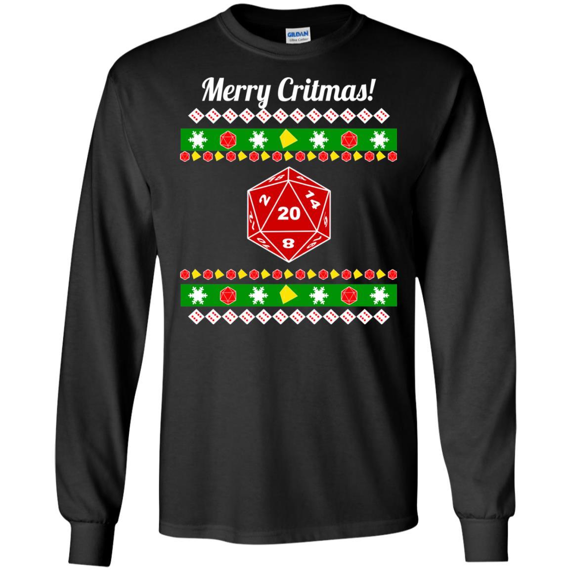 image 2203 - Merry Critmas Christmas ugly Sweatshirts, Long Sleeve