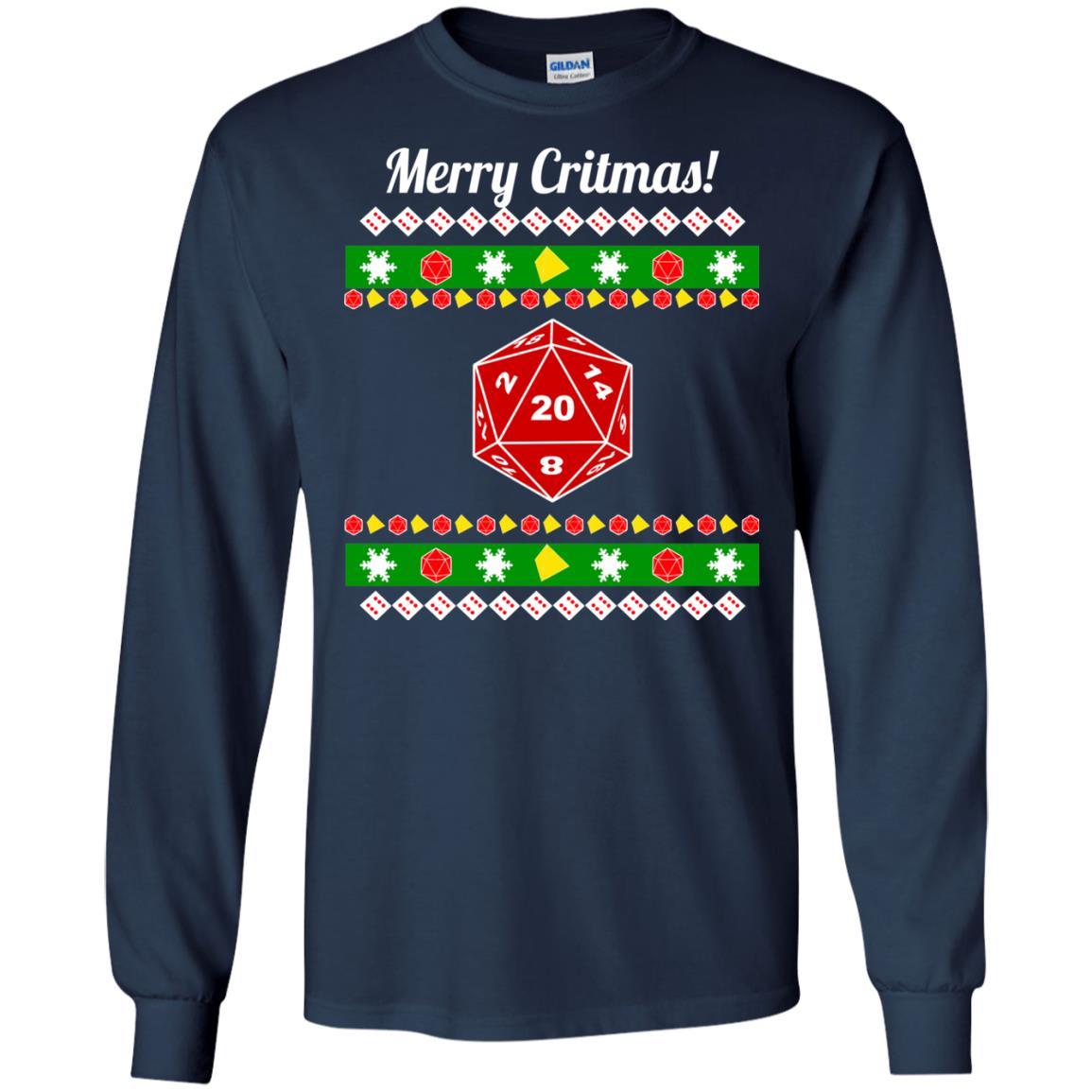 image 2204 - Merry Critmas Christmas ugly Sweatshirts, Long Sleeve