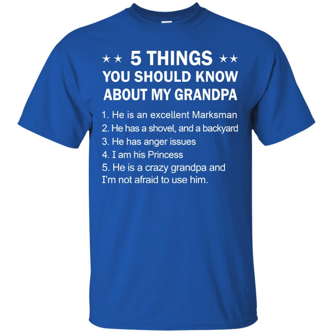 image 2325 - 5 Things You Should Know My Grandpa Shirt, Youth Shirt
