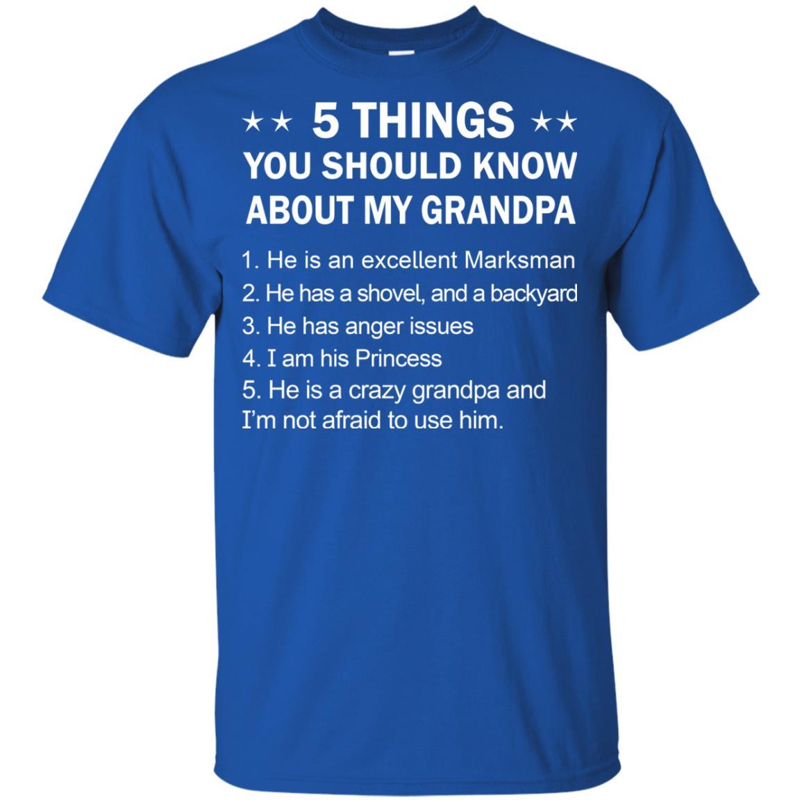 image 2333 - 5 Things You Should Know My Grandpa Shirt, Youth Shirt