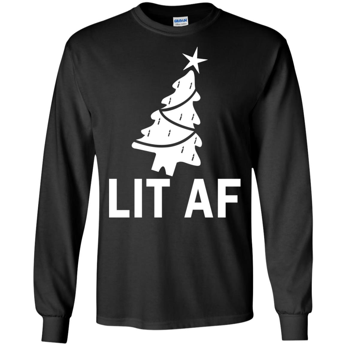 image 2359 - LIT AF Christmas Ugly Sweatshirt, Long Sleeve
