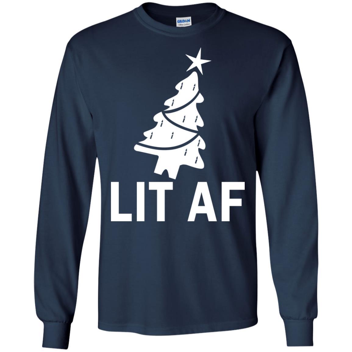 image 2360 - LIT AF Christmas Ugly Sweatshirt, Long Sleeve