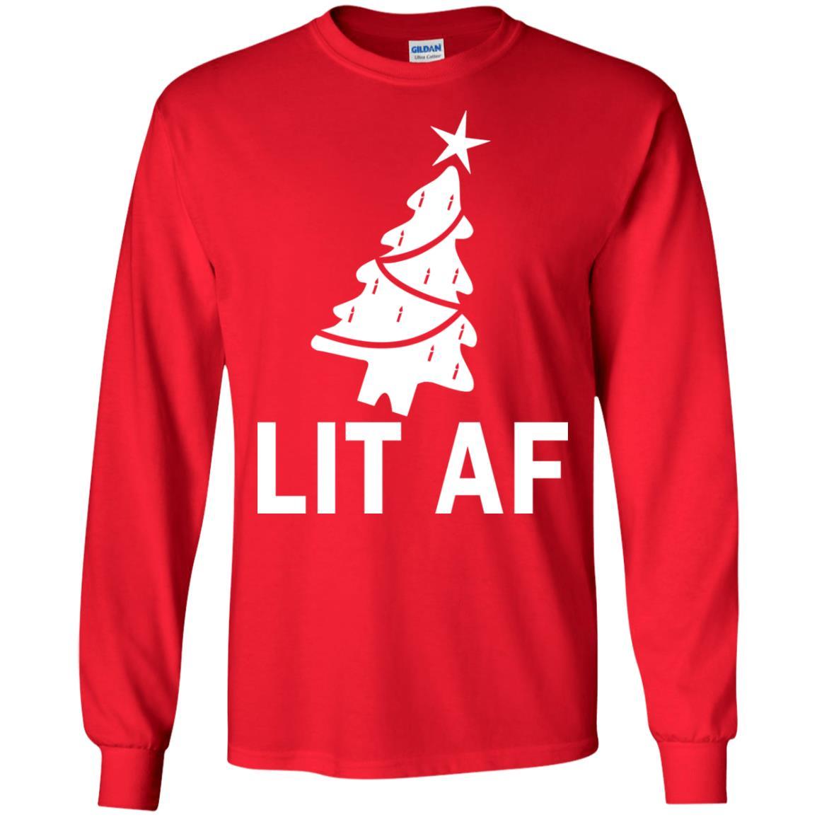 image 2361 - LIT AF Christmas Ugly Sweatshirt, Long Sleeve