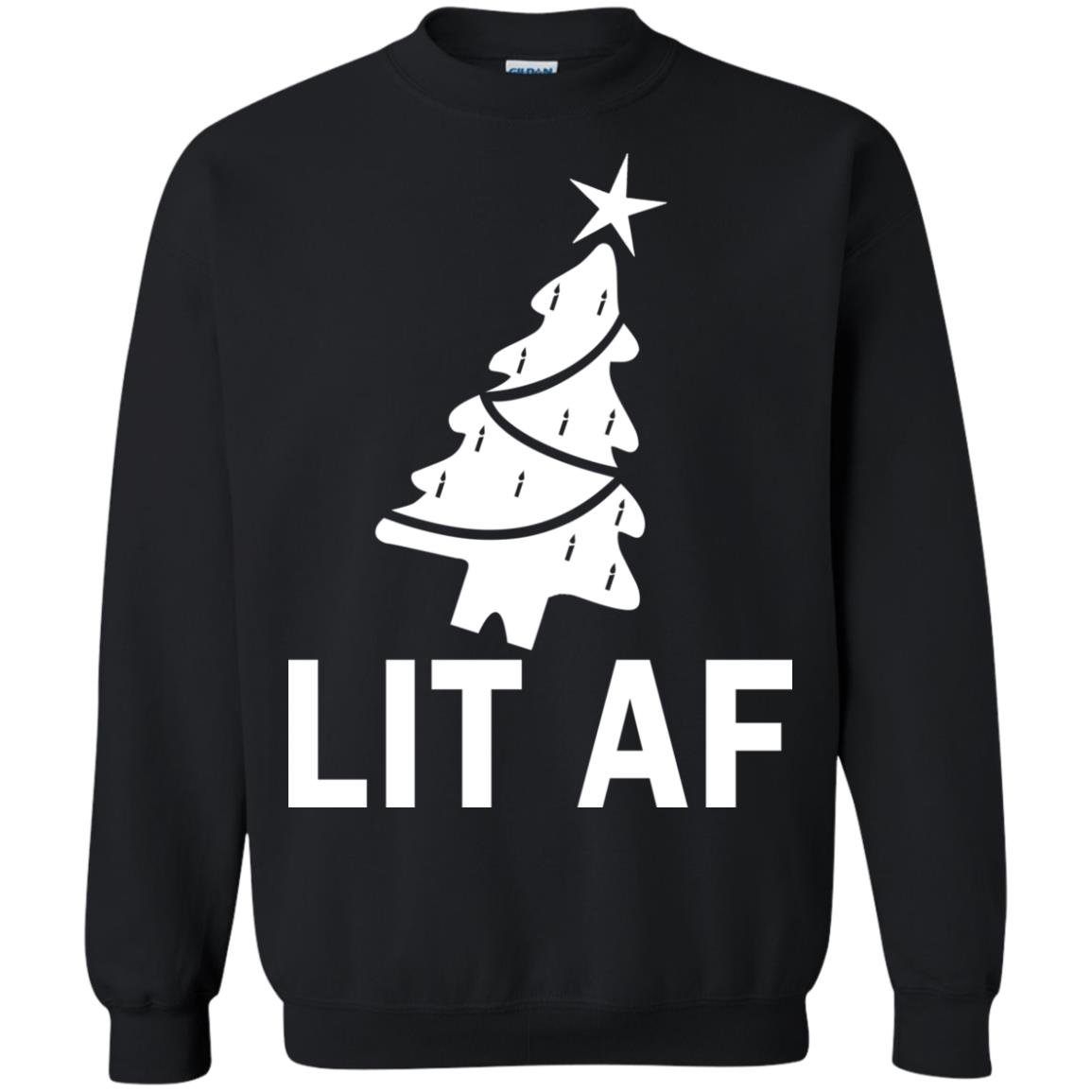 image 2365 - LIT AF Christmas Ugly Sweatshirt, Long Sleeve