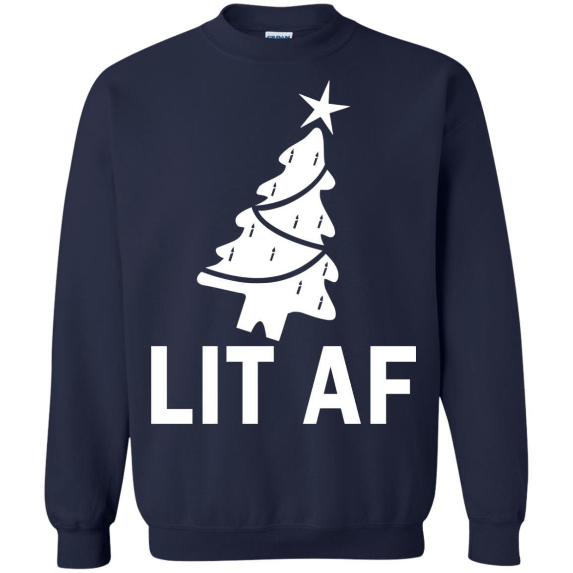 image 2366 - LIT AF Christmas Ugly Sweatshirt, Long Sleeve