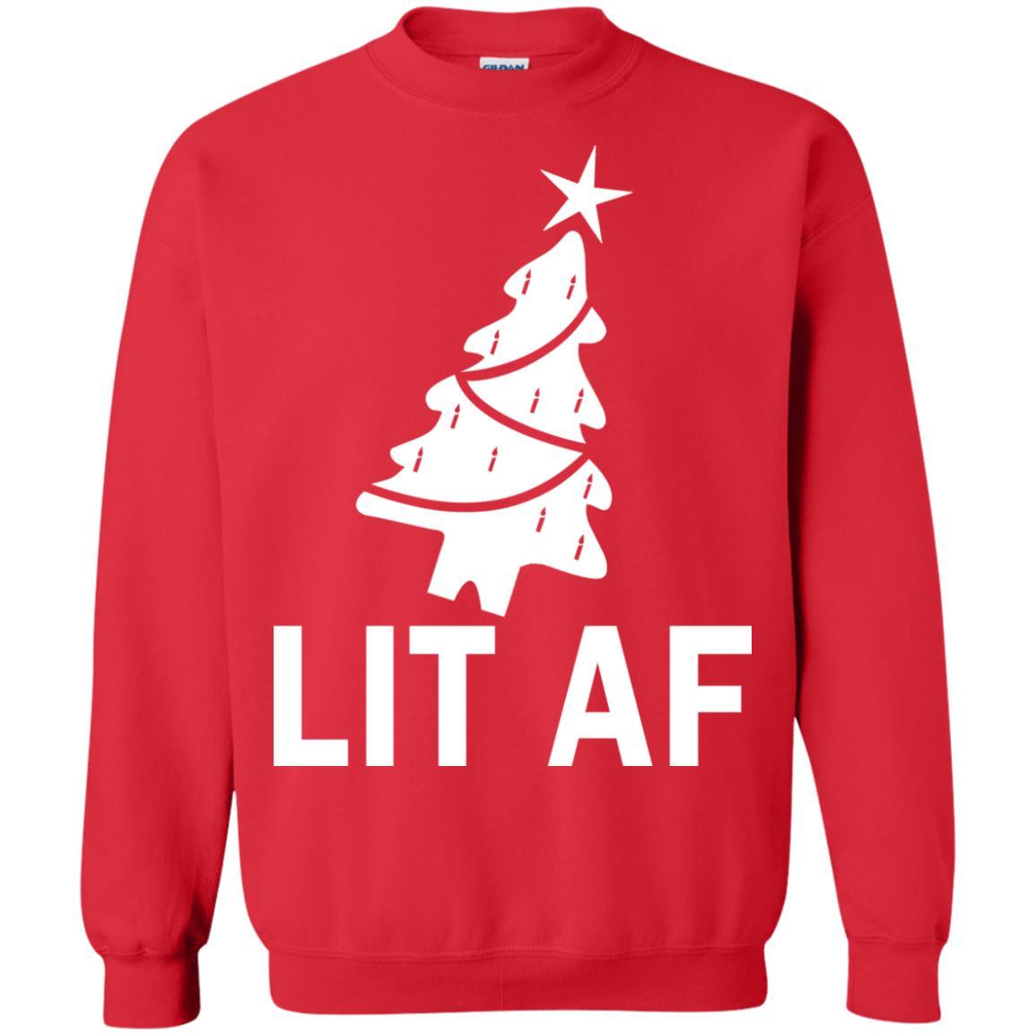 image 2367 - LIT AF Christmas Ugly Sweatshirt, Long Sleeve