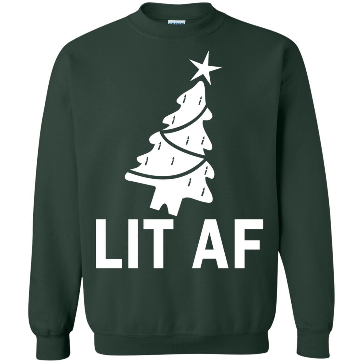 image 2368 - LIT AF Christmas Ugly Sweatshirt, Long Sleeve