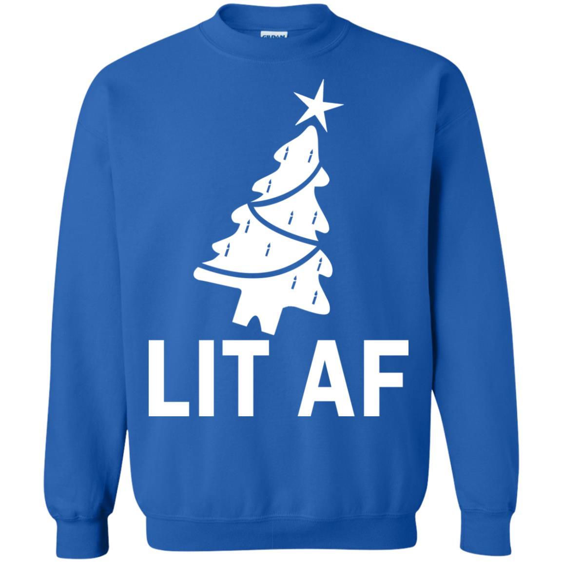 image 2369 - LIT AF Christmas Ugly Sweatshirt, Long Sleeve
