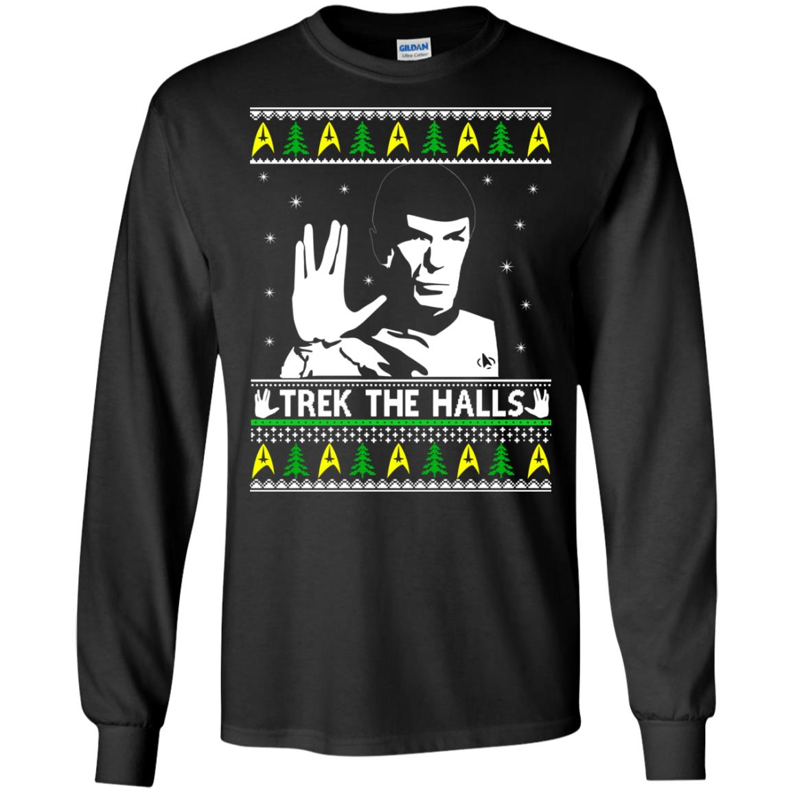 Star Trek Spock Trek The Halls Ugly Christmas Sweatshirts