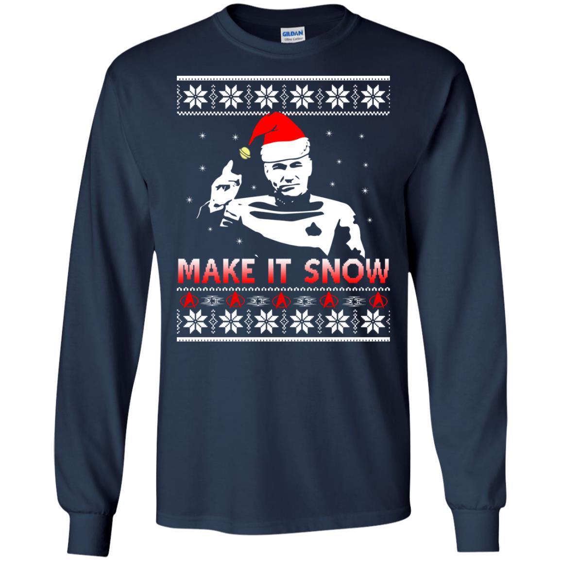 image 2408 - Star Trek make it snow Christmas Sweater, Shirt