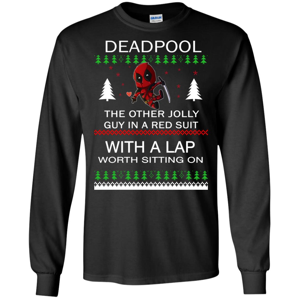 image 2829 - Deadpool The only jolly guy in a red suit with a Lap Christmas Sweater, Ugly Sweatshirts