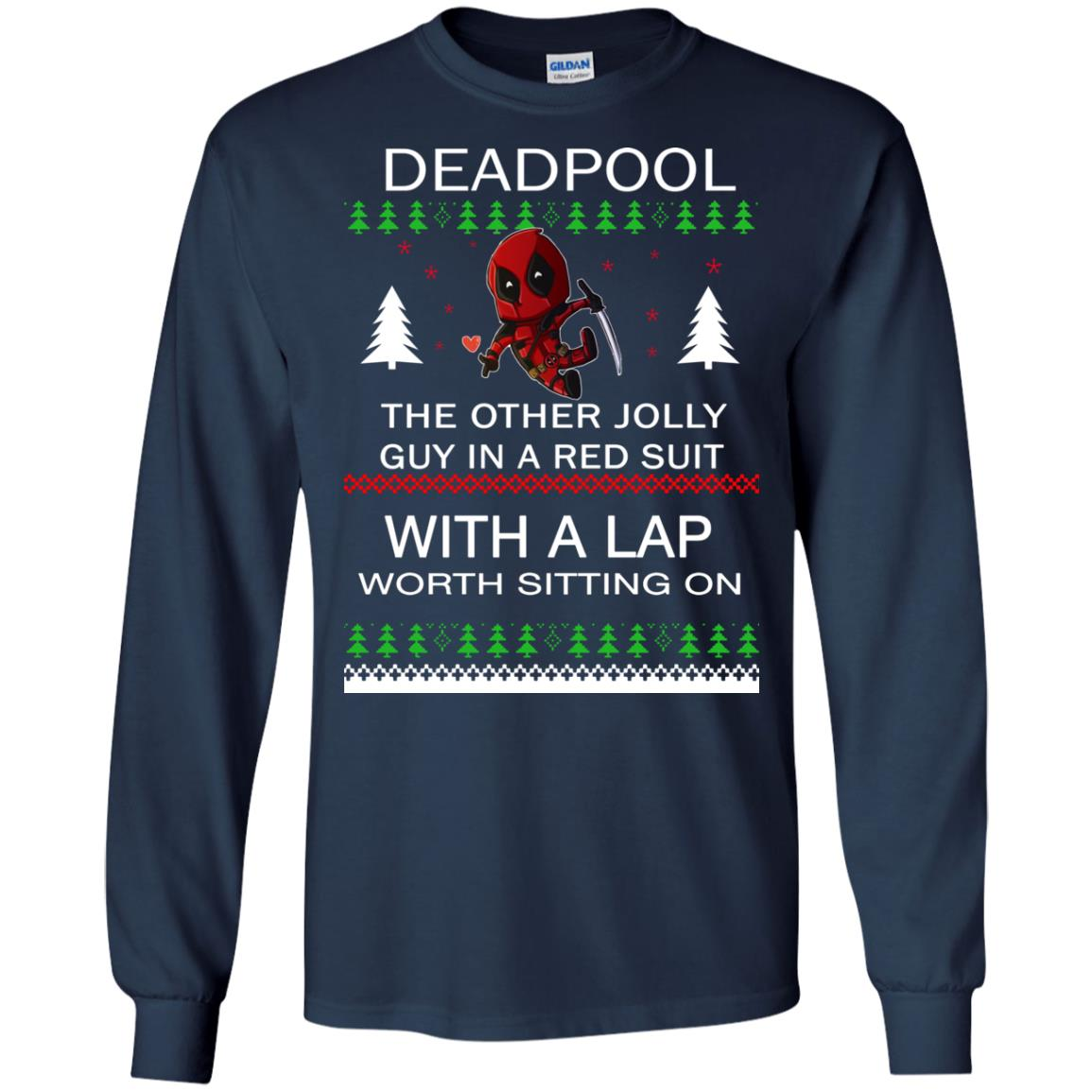image 2830 - Deadpool The only jolly guy in a red suit with a Lap Christmas Sweater, Ugly Sweatshirts