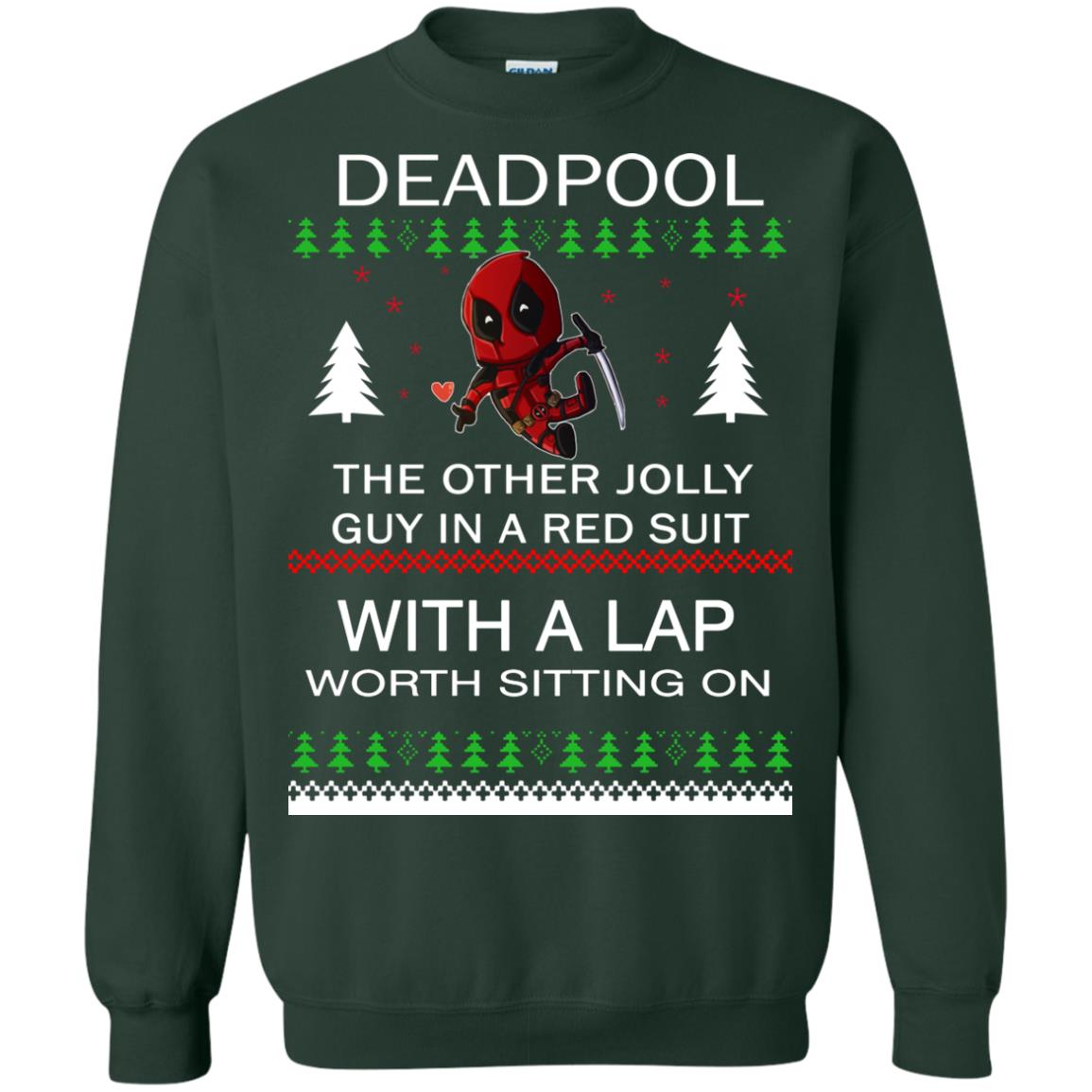 image 2838 - Deadpool The only jolly guy in a red suit with a Lap Christmas Sweater, Ugly Sweatshirts