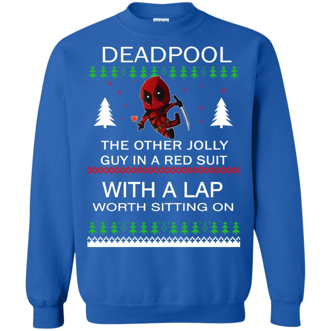 image 2839 - Deadpool The only jolly guy in a red suit with a Lap Christmas Sweater, Ugly Sweatshirts