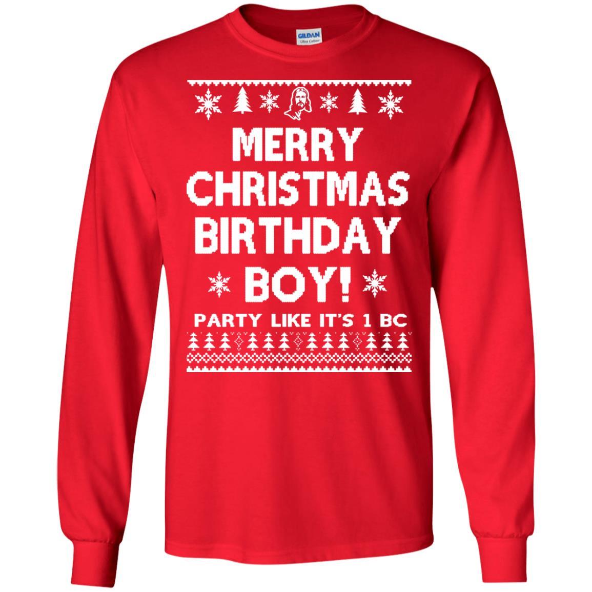 image 3173 - Jesus Merry Christmas Birthday Boy Sweater, Hoodie, Long Sleeve