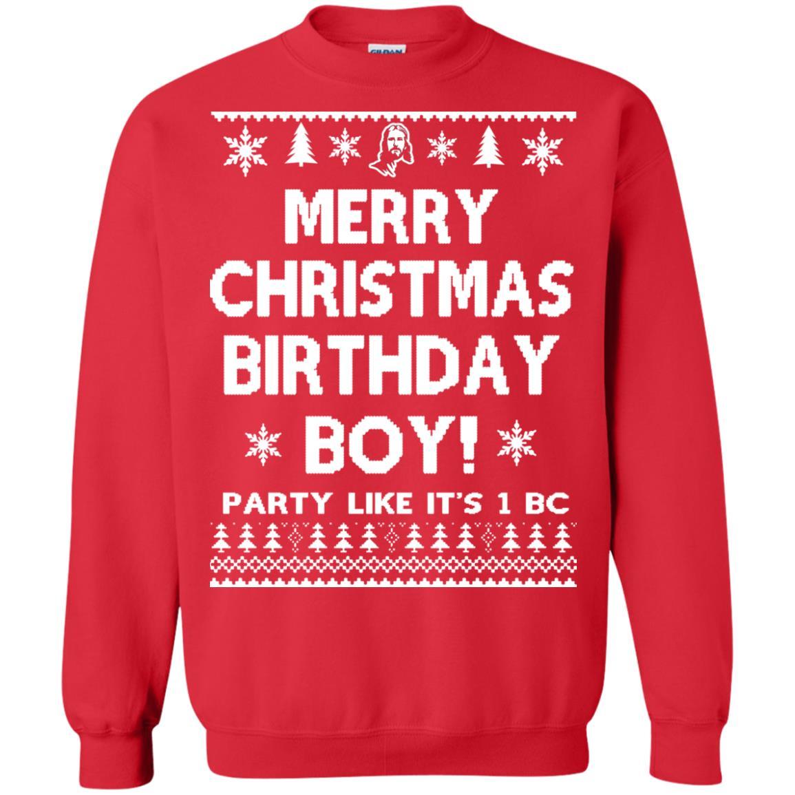image 3179 - Jesus Merry Christmas Birthday Boy Sweater, Hoodie, Long Sleeve
