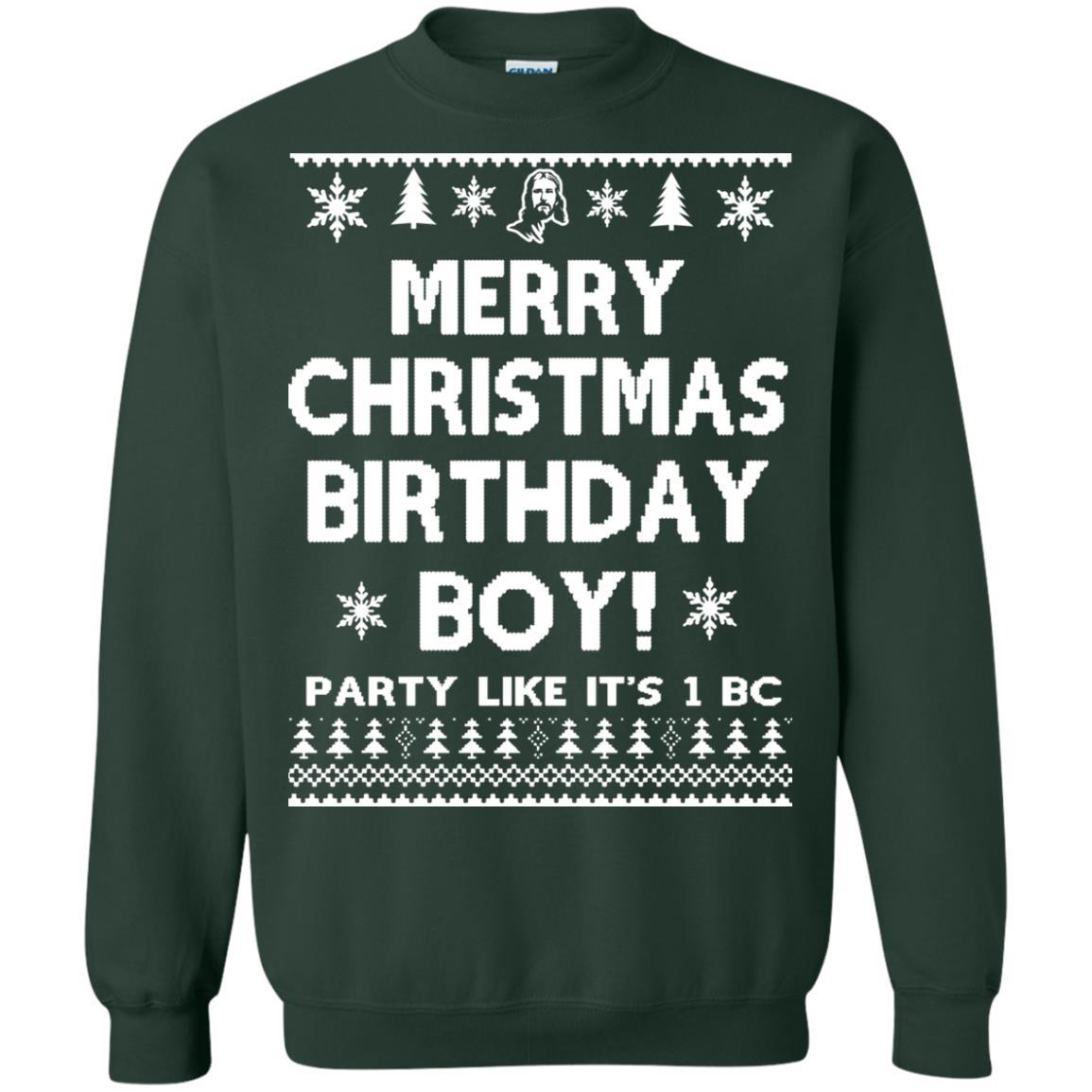 image 3180 - Jesus Merry Christmas Birthday Boy Sweater, Hoodie, Long Sleeve