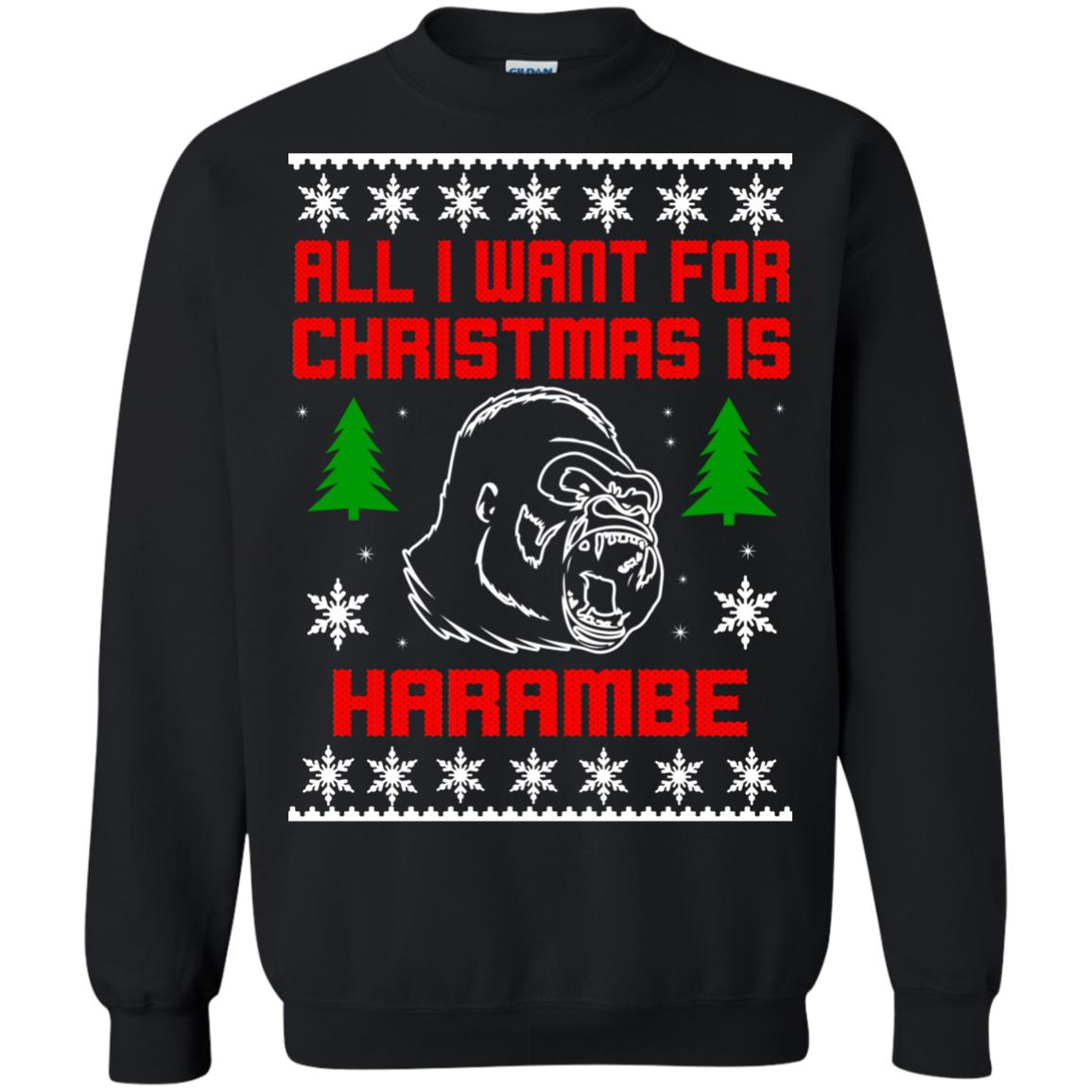image 3273 - All I Want For Christmas Is Harambe Ugly Sweater, Hoodie