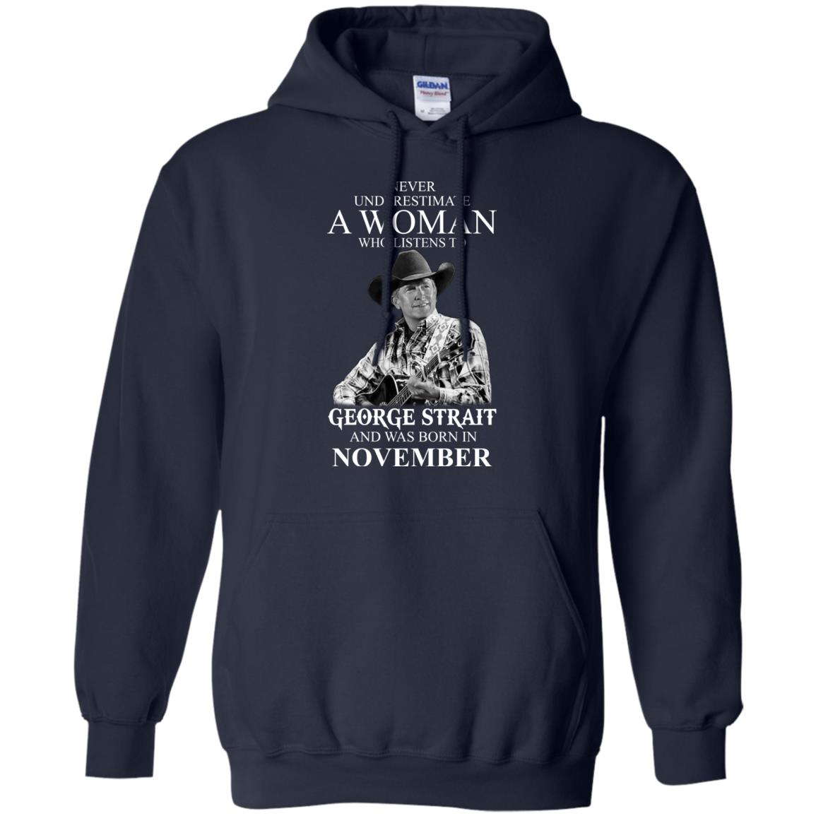 image 355 - Never Underestimate A Woman Who Listens To George Strait And Was Born In November shirt