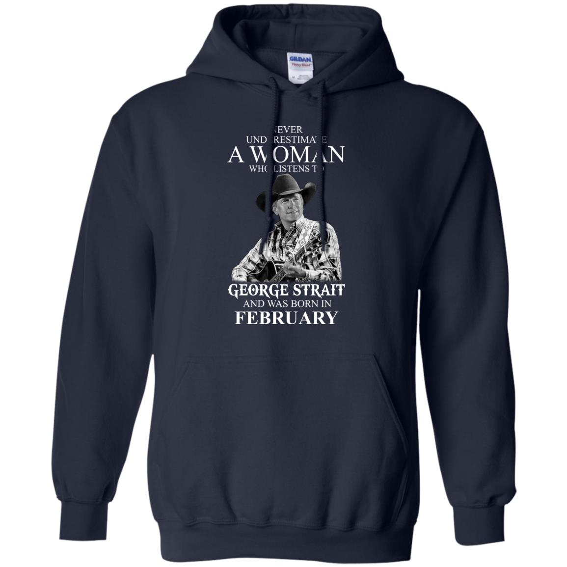 image 451 - Never Underestimate A Woman Who Listens To George Strait And Was Born In February shirt