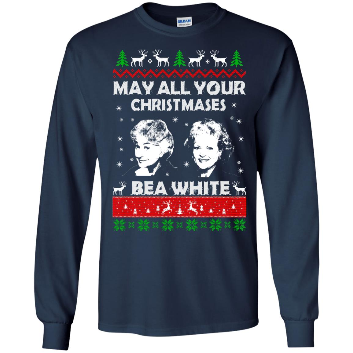 image 726 - May all your Christmases Bea White Ugly Sweater, Hoodie