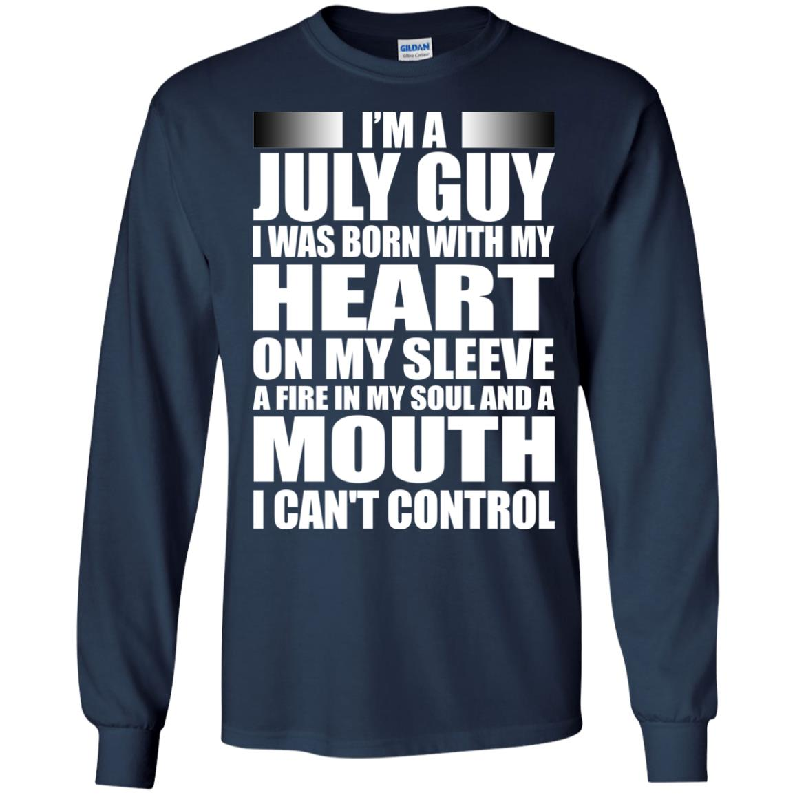 image 914 - I'm a July guy I was born with my heart on my sleeve shirt, hoodie, tank