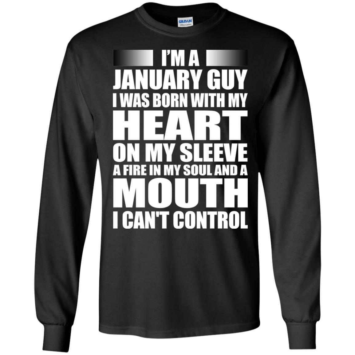 image 991 - I'm a January guy I was born with my heart on my sleeve shirt, hoodie, tank