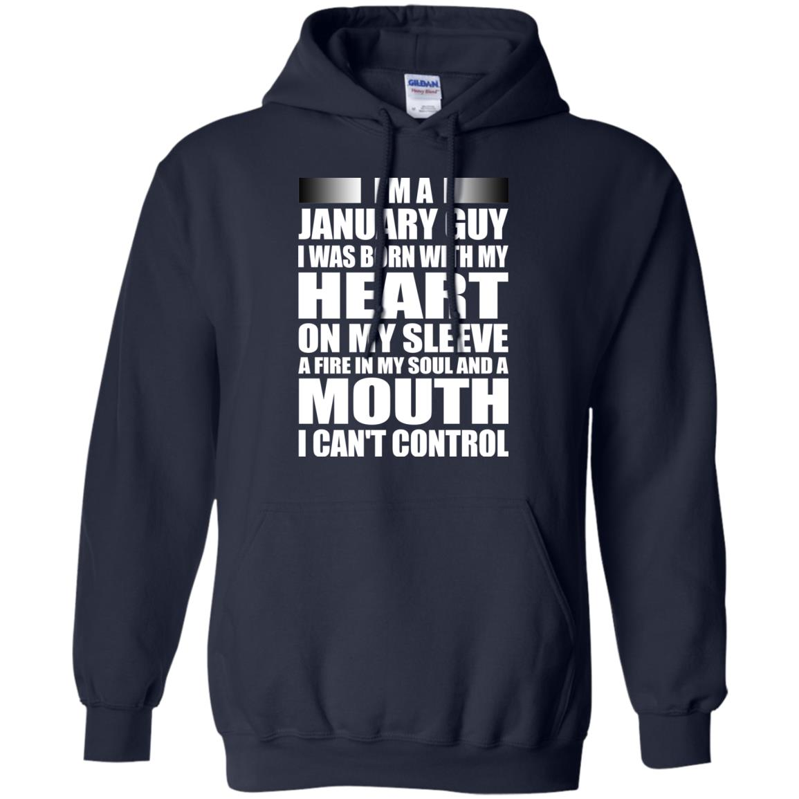 image 994 - I'm a January guy I was born with my heart on my sleeve shirt, hoodie, tank
