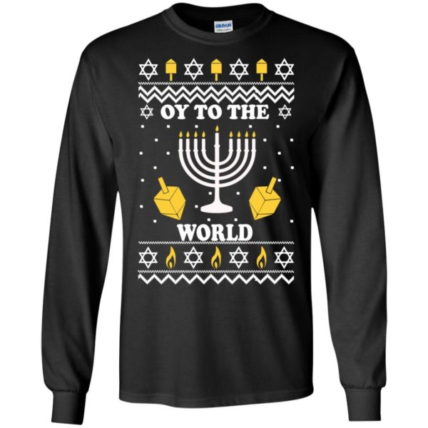 image 1511 600x600 - Oy To The World Hanukkah Christmas Sweatshirt, Long Sleeve