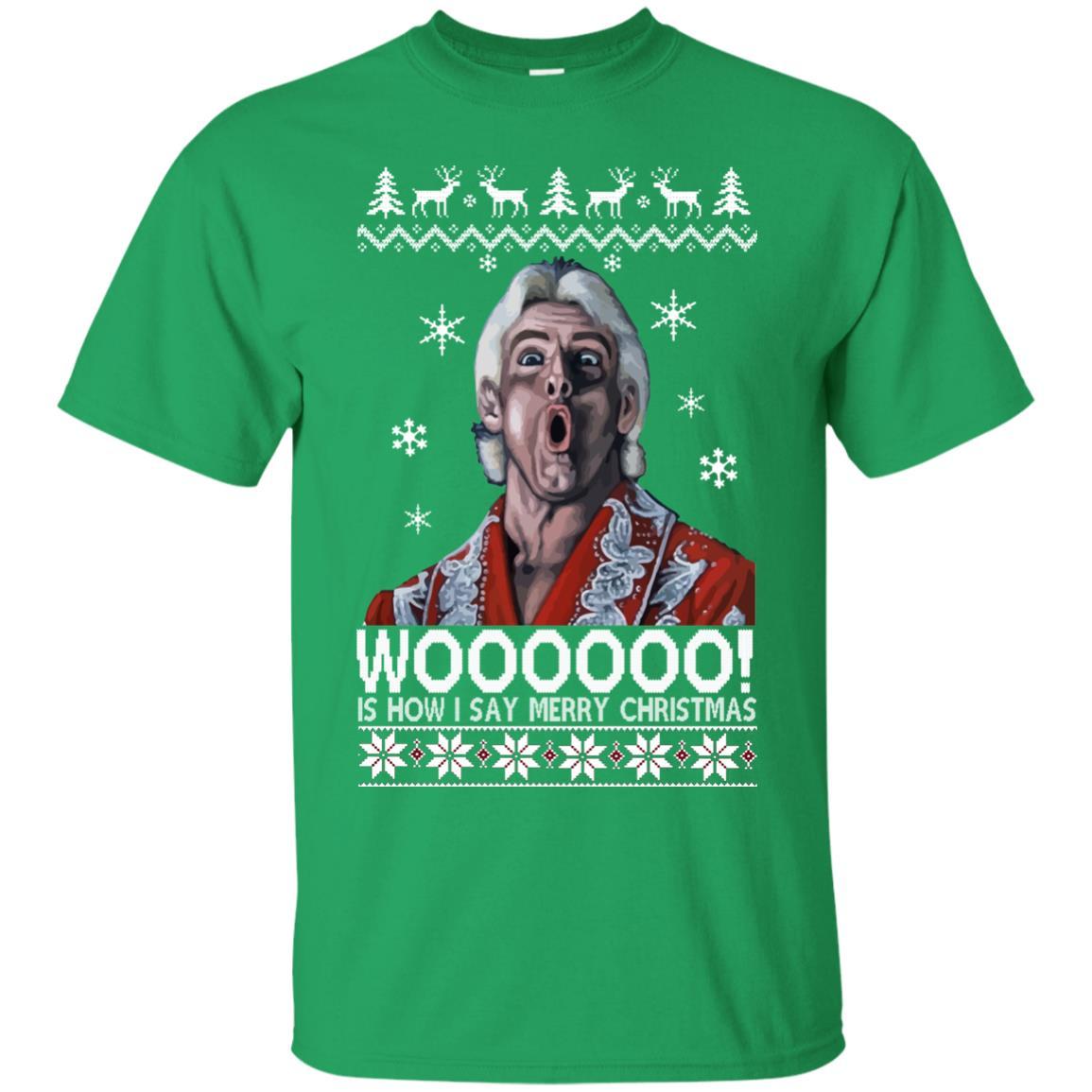 image 1636 - Green Ric Flair WOO Christmas Sweater, Ugly Sweatshirt