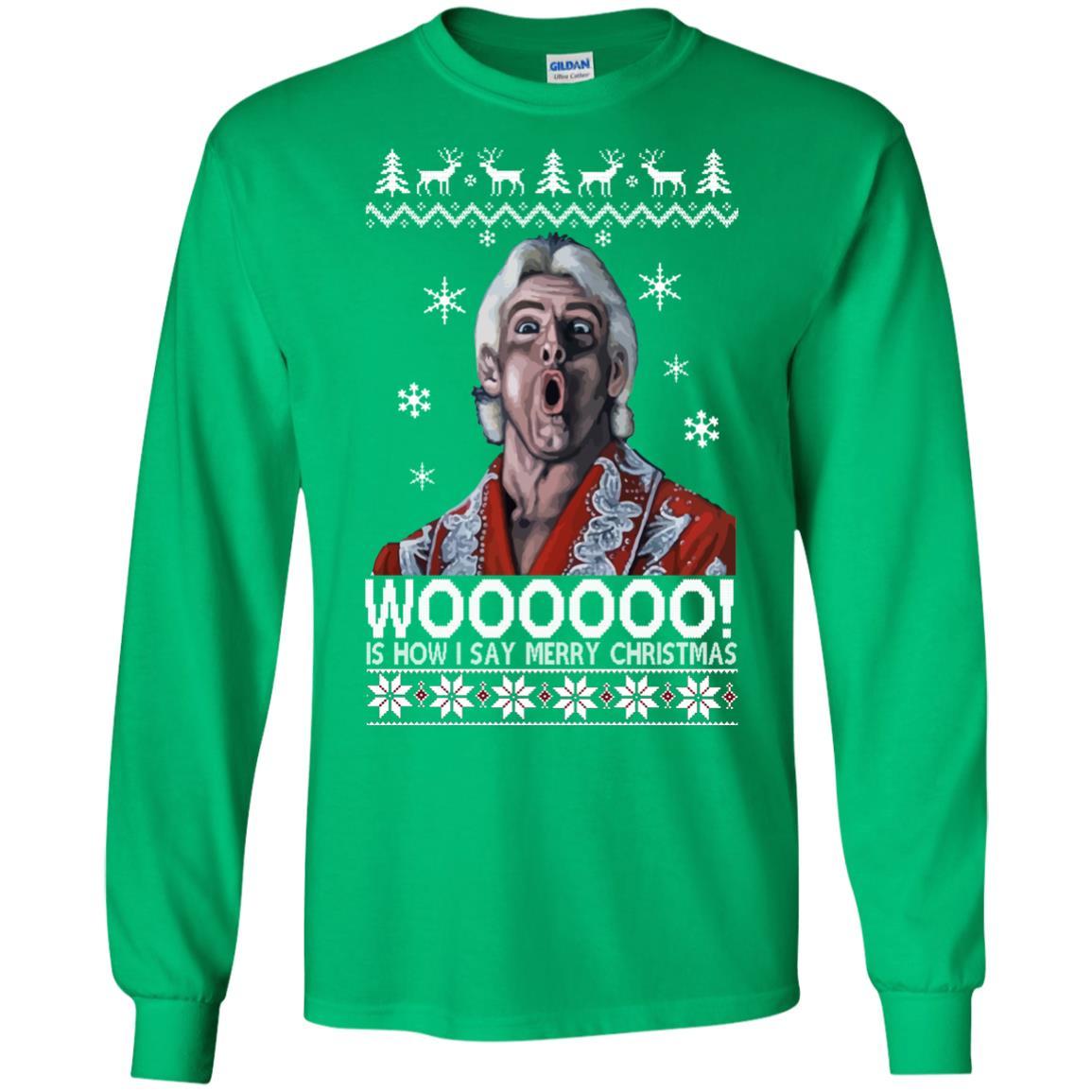 image 1638 - Green Ric Flair WOO Christmas Sweater, Ugly Sweatshirt