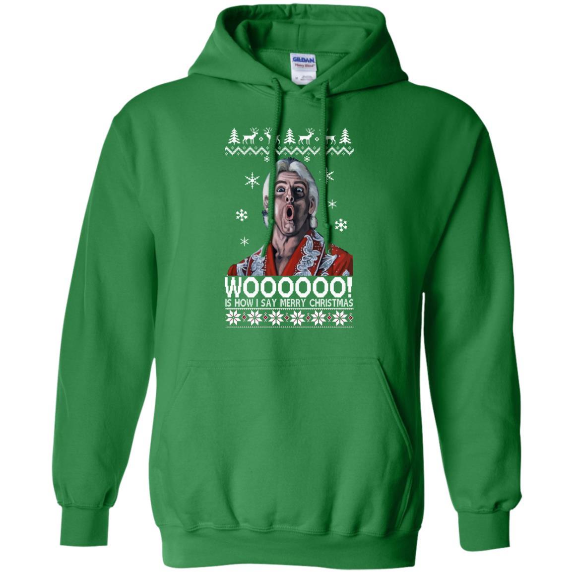 image 1640 - Green Ric Flair WOO Christmas Sweater, Ugly Sweatshirt