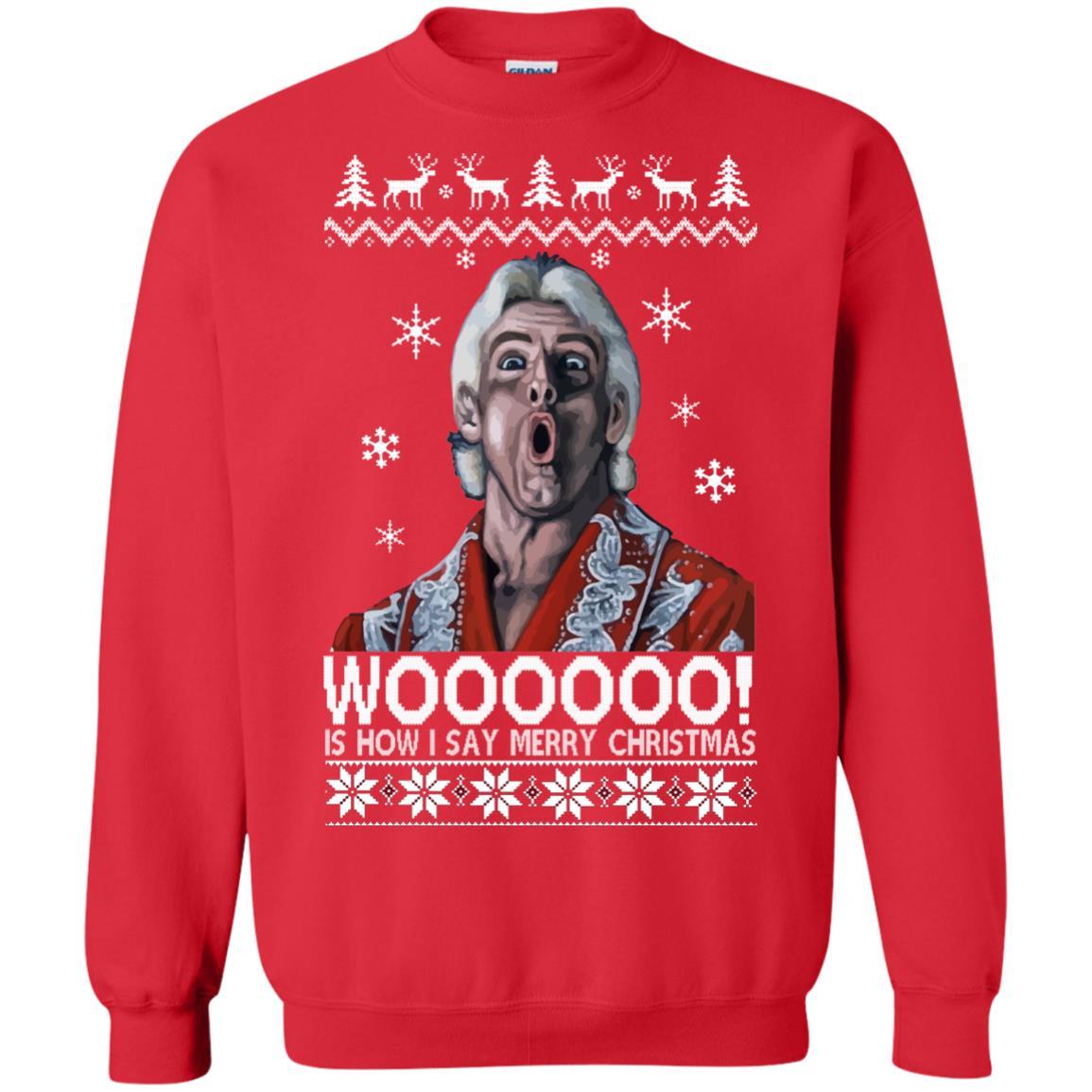 image 1643 - Green Ric Flair WOO Christmas Sweater, Ugly Sweatshirt