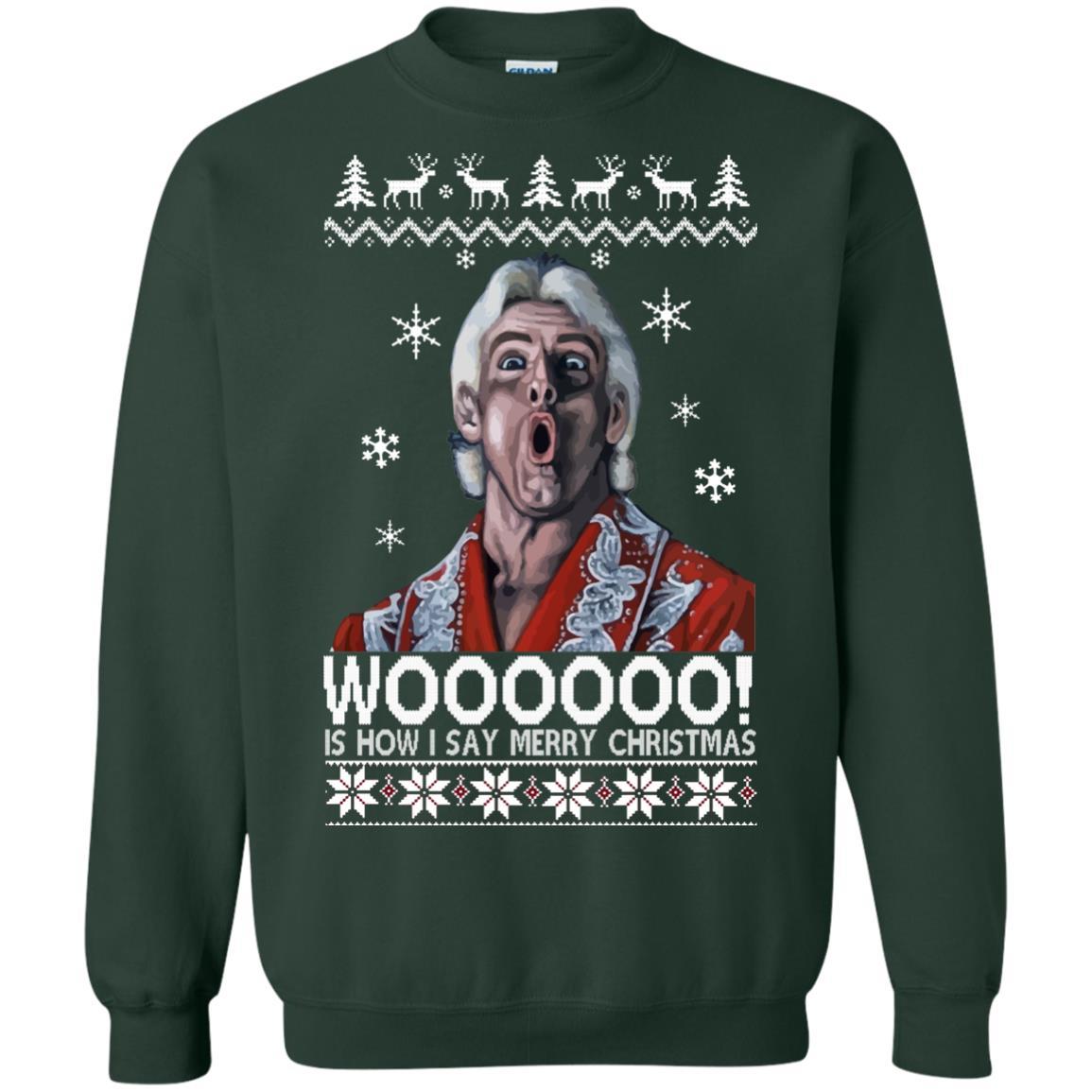 image 1644 - Green Ric Flair WOO Christmas Sweater, Ugly Sweatshirt